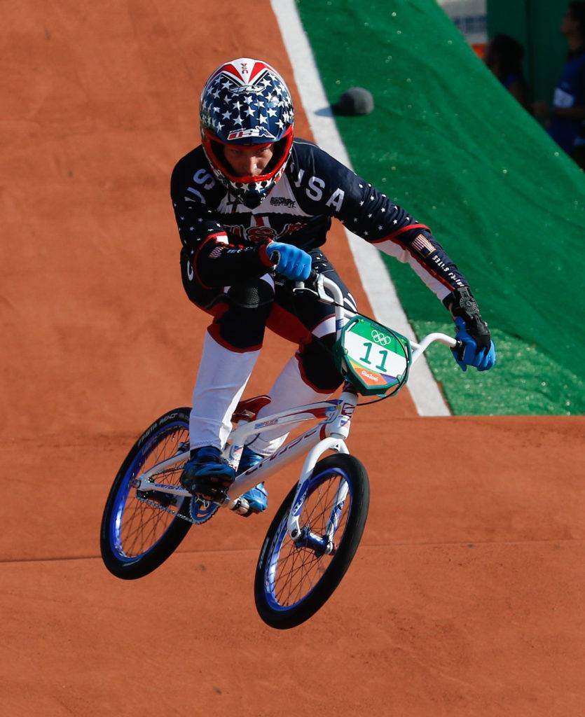 Rio de Janeiro - Ciclista norte-americano Connor Fields compete BMX nos Jogos Olímpicos Rio 2016, no Parque Radical em Deodoro (Fernando Frazão/Agência Brasil)