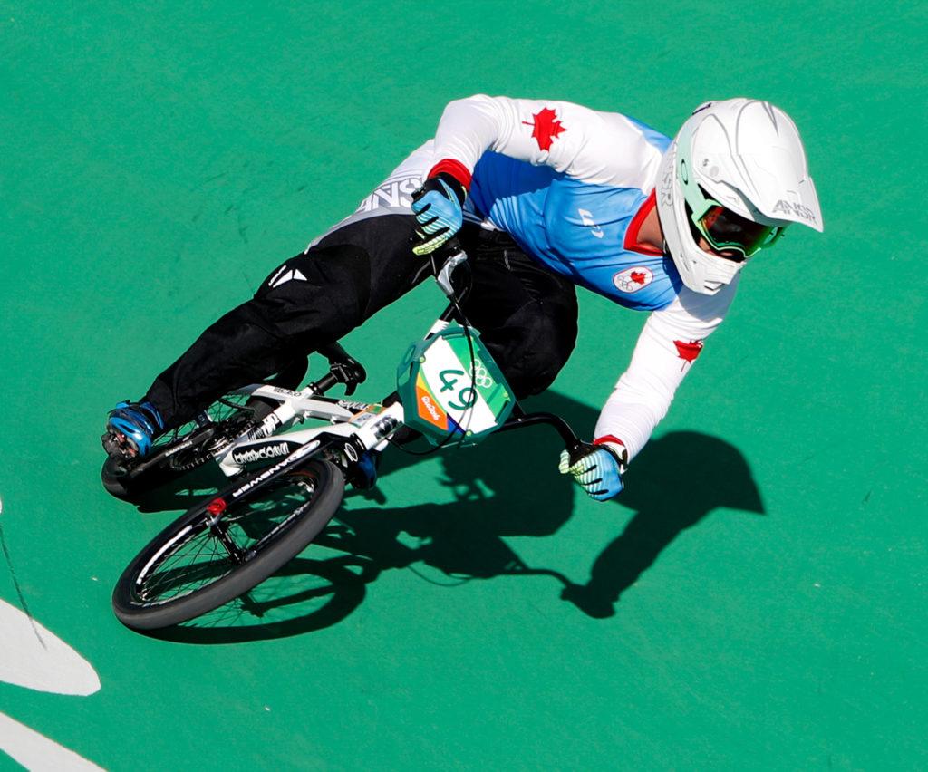 Rio de Janeiro - Ciclista canadense Tony Nyhaug compete BMX nos Jogos Olímpicos Rio 2016, no Parque Radical em Deodoro (Fernando Frazão/Agência Brasil)